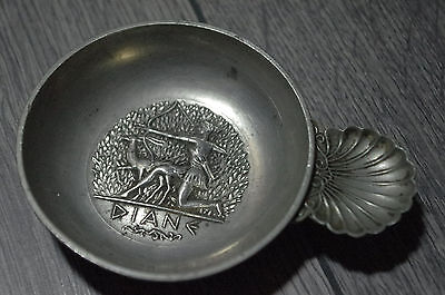 vintage French art deco pewter tastevin wine taster Diane domaine d'Egmont
