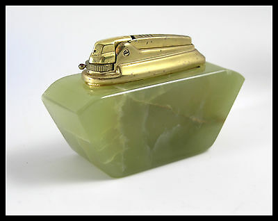VINTAGE 1960's RONSON VARAFLAME GREEN ONYX TABLE LIGHTER COLLECTORS ITEM