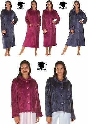 Ladies Soft Feel Cozy button up dressing gown robe cover up housecoat 10/24