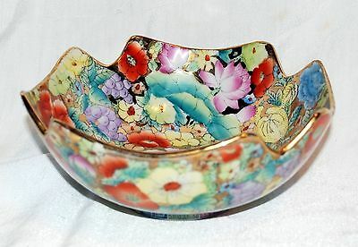 Beautiful Vintage Floral Bowl with Gold Trim Made in China
