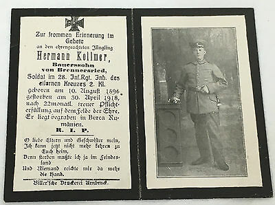 WWI German Army Soldiers Death Card - (1918)