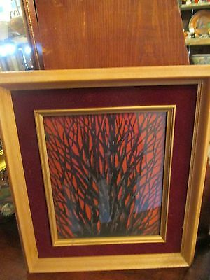 Vintage Framed BUNKA Japanese Embroidery Picture of BLACK CORAL