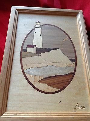 Hudson River Boston,MA.Lighthouse Wood Marquetry Inlay by Jeff Nelson