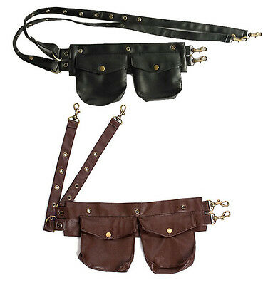Faux Leather Pouch Belt Steampunk Corsets Accessories Gothic Pocket Waist Bags