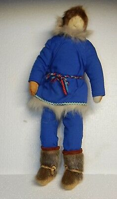 """Inuit Eskimo Art DOLL, 18"""" suede face, blue outfits, fur boots,"""