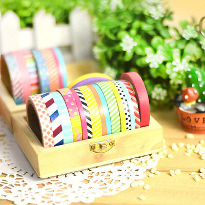 3/6/15 pcs DIY Paper Sticky Adhesive Sticker Decorative Scrapbooking Washi Tapes