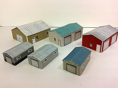 Z Scale Shed Buildings - Farm / Mechanical / Maintenance Sheds Cardstock kit set