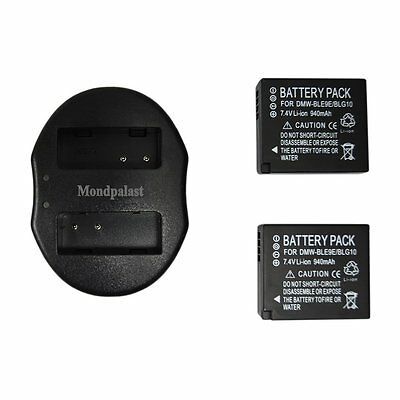 2x Replacement Battery DMW-BLE9E + USB Dual Charger for Panasonic LX100K LX100S