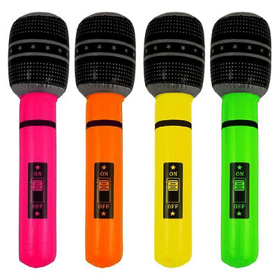 40cm Novelty Inflatable/ Blow Up Microphone Party Rock Fancy Dress Accessory NEW
