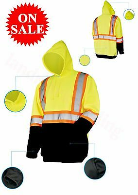 Hl VlS Pull Over Sweatshirt Class 3 Safety Hoodie Road Work Lime