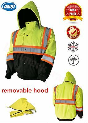 Hi-Vis Insulated Safety Bomber Reflective Jacket Coat Road Work HIGH VISIBILITY