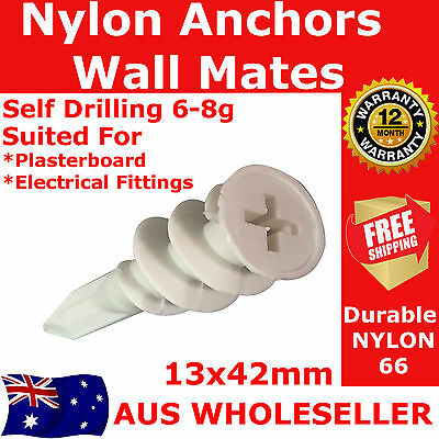 1000 Nylon Wallmate Gyprock Plasterboard Anchor 13x42mm 6-8g Wall Mate