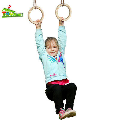 Toyment 1pair Wooden Olympic Gymnastic Rings Gym Rings with Pp Adjustable Ropes