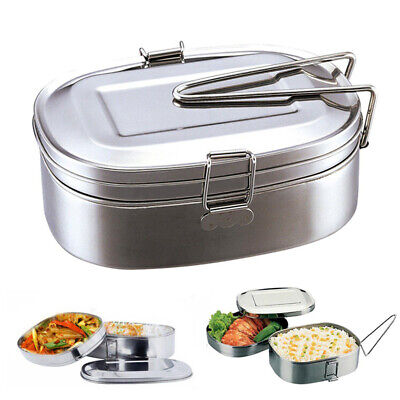 Stainless Steel Square Bento Lunch Box Tiffin Food Container Storage 2 layers