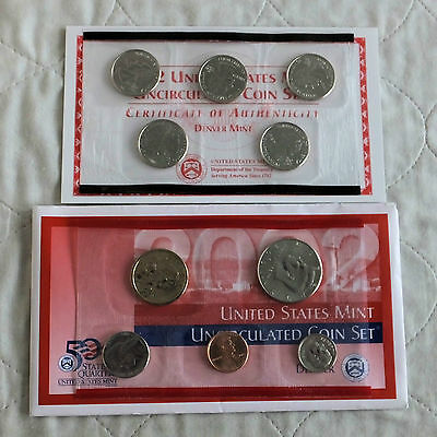 USA 2002 10 COIN UNCIRCULATED DENVER MINT YEAR SET - 2 sealed packs - complet