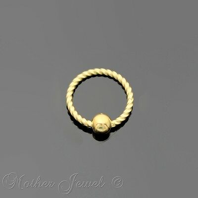 18G 6Mm 14K Yellow Gold Plated Cbr Bcr Ear Nose Lip Septum Helix Captive Ring