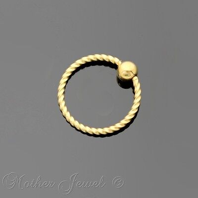 20G 8Mm 14K Yellow Gold Plated Cbr Bcr Ear Nose Lip Septum Helix Captive Ring
