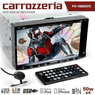 "CARROZZERIA FH-1680DVD 7"" Double DIN Reverse Cam Car DVD Player Headunit Stereo"