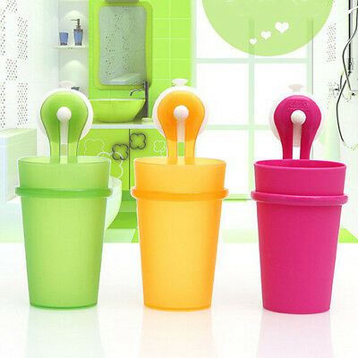 Toothbrush Mug Toothpaste Holder Cups Set Home Bathroom Wall Sucker Stand 3Color