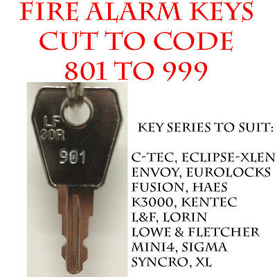 2 x Fire Alarm Panel/Fire Isolation Switch Replacement Keys Cut Codes 801 to 999