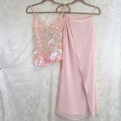 Thierry Mugler VintageTop & Skirt- Delicate Pink with Large Flat Sequin Top- M