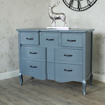 Large grey wooden chest of drawers shabby vintage chic ornate bedroom furniture