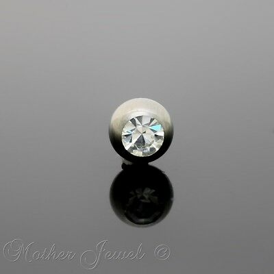 6mm CZ Silver Titanium Eyebrow Labret Helix Belly Bar Replacement Spare Ball 14g