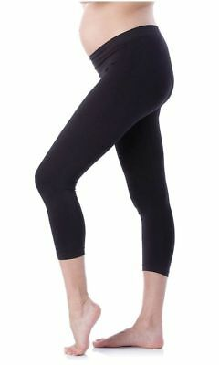 Cropped Very Comfortable Adjustable Maternity Cotton Leggings - Black - Size 8