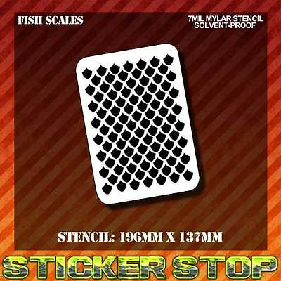 FISH SCALES MYLAR STENCIL (Airbrush, Craft, Re-usable)
