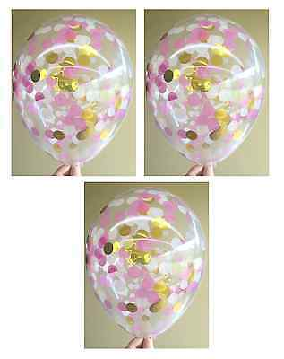 Clear Confetti Balloons Pink, Gold And White - Pack of 3 - 1st Birthday Wedding