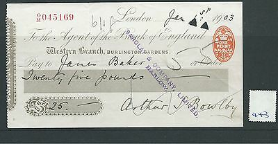 wbc. - CHEQUE - CH443- USED - 1902- BANK of ENGLAND, WESTERN BRANCH, LONDON