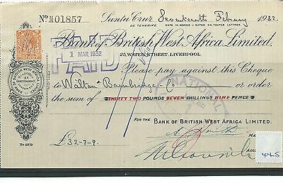 wbc. - CHEQUE - CH445- USED - 1932- BANK of BRITISH WEST AFRICA, LIVERPOOL