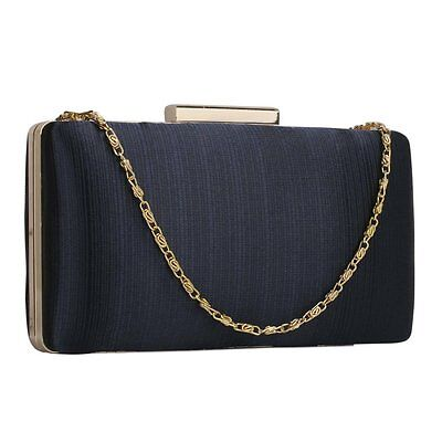 Nude Navy Satin Clutch Evening Bag Wedding Prom Party Ladies Handbag New