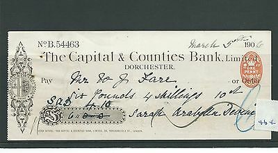 wbc. - CHEQUE - CH464- USED - 1906- CAPITAL & COUNTIES, DORCHESTER