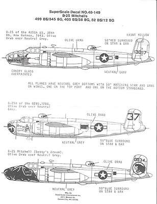 SuperScale 1/48 decals B-25 Mitchells - MS48-149 Used / Older