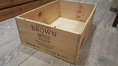 Chateau Brown French Wooden Wine Box / Crate / Hamper / Storage Box 12 Bottle..