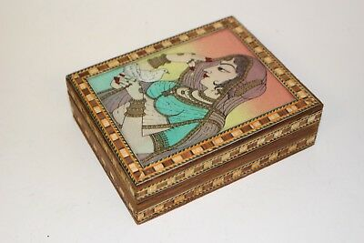 Small Handmade Wooden Jewellery Box with Mughal Art Handcarved Decor Accesories