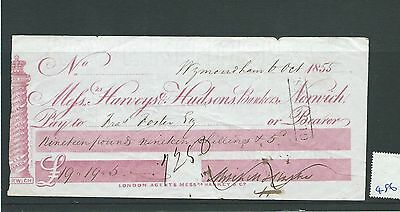 wbc. - CHEQUE - CH486- USED -1855- HARVEYS & HUDSONS, BANKERS, NORWICH