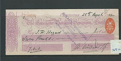 wbc. - CHEQUE - CH490- USED -1902/03- LANCASTER BANKING CO. ULVERSTON