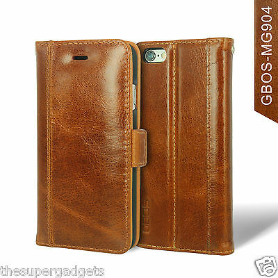 GBOS® Genuine Handmade Real Leather Wallet Case For iPhone 5S/SE/6/6S/7/8/X