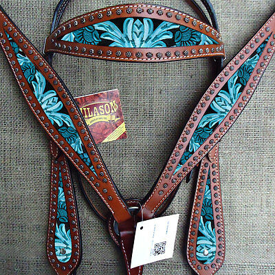 Hilason Western Leather Horse Headstall Breast Collar Floral Turquoise Painted