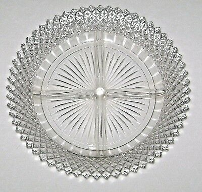Vintage Crystal Depression Glass Miss America Divided Relish by Hocking 1935-38