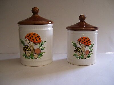 "VINTAGE 1982 SEARS ROEBUCK RETRO "" MERRY MUSHROOMS "" CANISTER SET w/ LIDS 4 PC"