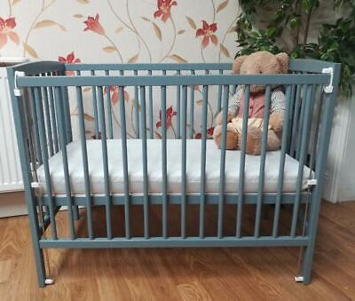 MINI SPACE SAVER SMALL COT 4 BABY / GREY / MATTRESS / Fast Delivery / Little Cot