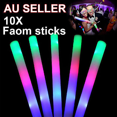10x LED RGB Thunder Foam Sticks 48cm Flashing Light Rave Party Glow in the dark