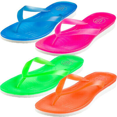 Neon Jelly Pop Style Thong Beach Flip-flops for Women