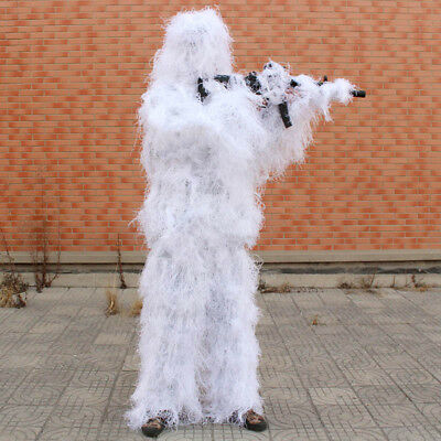 Sniper Snow White Camouflage Clothes Haired Ghillie Suit Winter Traning Hunting