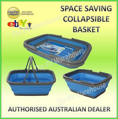 Space Saving Collapsible Blue Basket New Caravan Boat RV Camping Silicone