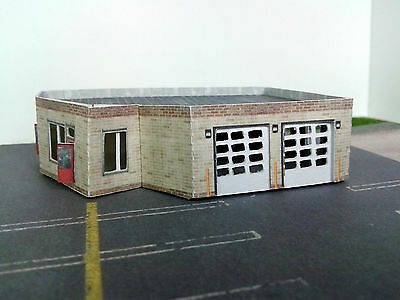 Z Scale Building - Multi Purpose Building Police or Fire Station Etc (Paper Kit)