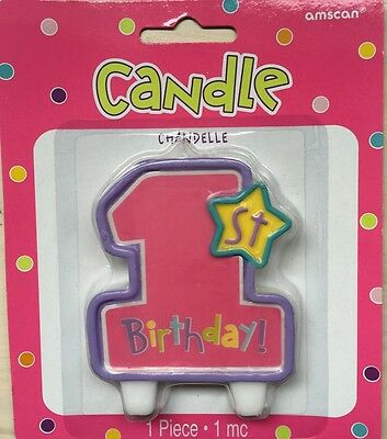 1st Birthday Candle - Pink Girls Party Supplies Decorations Cake